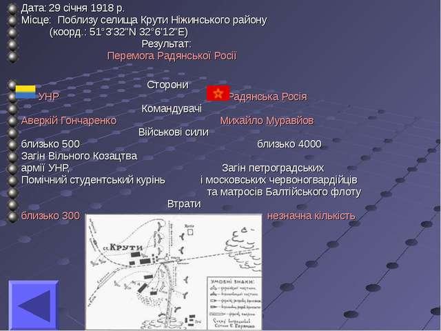 Дата:29 січня 1918 р. Місце: Поблизу селища Крути Ніжинського району (коорд....