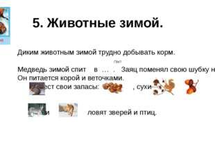 5. Животные зимой. Диким животным зимой трудно добывать корм. Где? Медведь зи