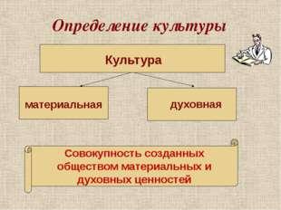 Определение культуры Культура материальная духовная Совокупность созданных об