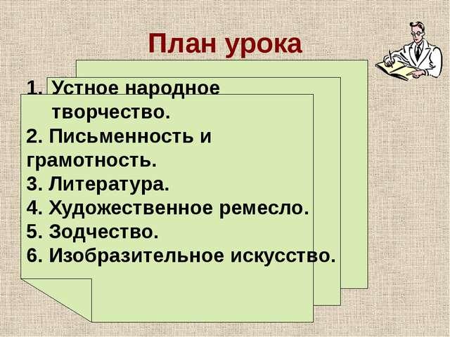 План урока Устное народное творчество. 2. Письменность и грамотность. 3. Лите...