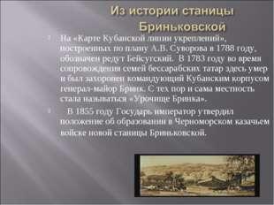 На «Карте Кубанской линии укреплений», построенных по плану А.В. Суворова в 1