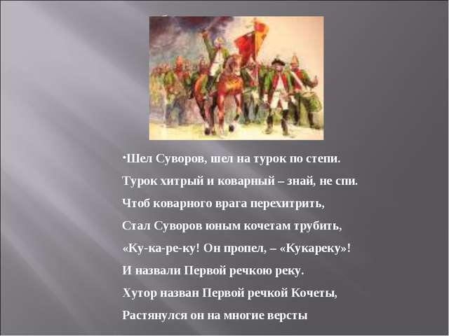 Шел Суворов, шел на турок по степи. Турок хитрый и коварный – знай, не спи....