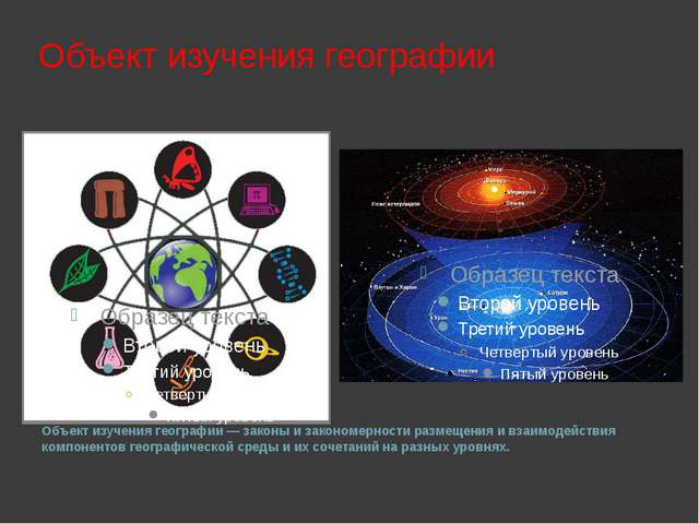Объект изучения географии Объект изучения географии— законы и закономерност...