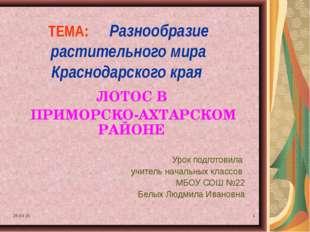 * * ТЕМА: Разнообразие растительного мира Краснодарского края ЛОТОС В ПРИМОРС