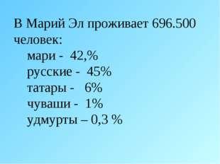 В Марий Эл проживает 696.500 человек: мари - 42,% русские - 45% татары - 6% ч