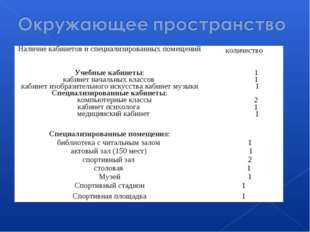 Наличие кабинетов и специализированных помещенийколичество Учебные кабинеты: