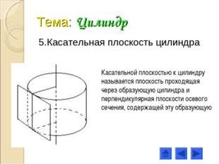 Тема: Цилиндр 5.Касательная плоскость цилиндра Касательной плоскостью к цилин