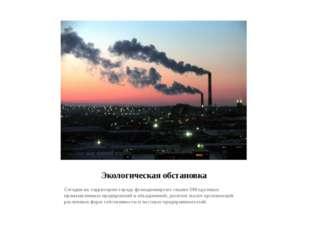 Экологическая обстановка Сегодня на территории города функционируют свыше 500