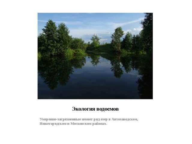 Экология водоемов Умеренно-загрязненные имеют ряд озер в Автозаводском, Нижег...