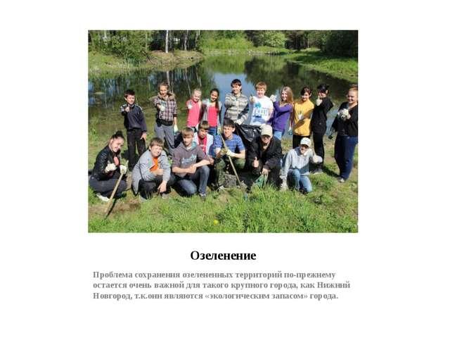 Озеленение Проблема сохранения озелененных территорий по-прежнему остается оч...