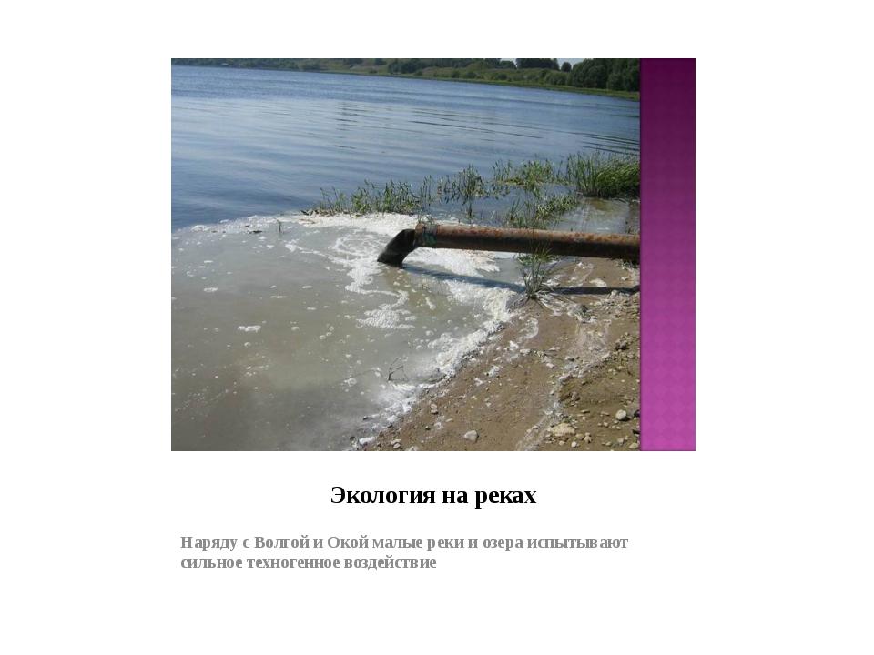 Экология на реках Наряду с Волгой и Окой малые реки и озера испытывают сильно...
