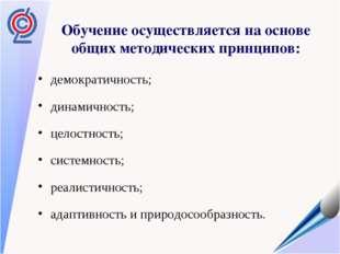 Обучение осуществляется на основе общих методических принципов: демократичнос