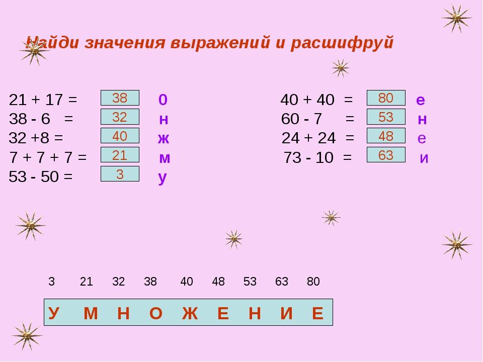 Найди значения выражений и расшифруй 21 + 17 = 0 40 + 40 = е 38 - 6 = н 60 -...
