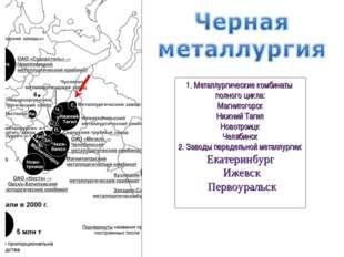 1. Металлургические комбинаты полного цикла: Магнитогорск Нижний Тагил Новотр