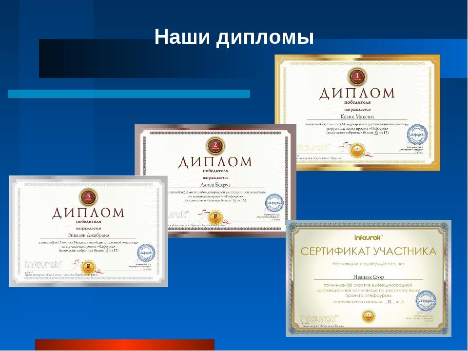 Наши дипломы