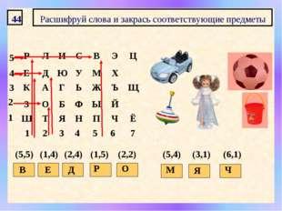44 Расшифруй слова и закрась соответствующие предметы 1 2 3 4 5 6 7 1 2 3 4 5