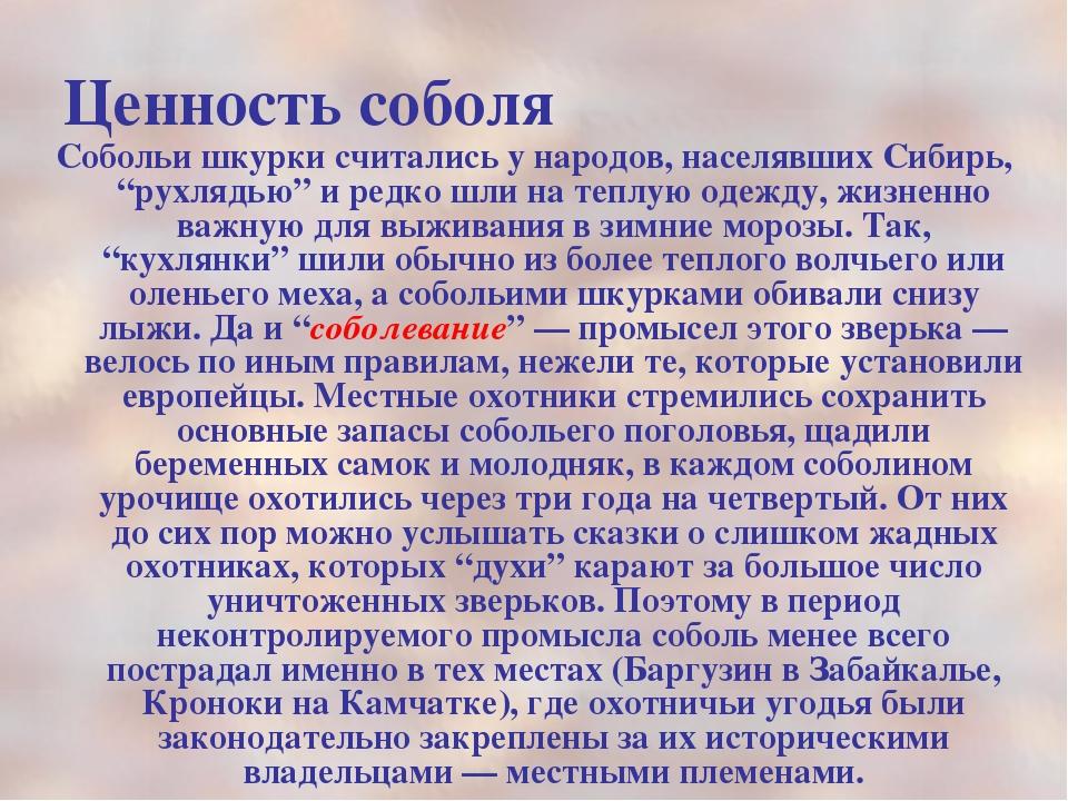 """Ценность соболя Собольи шкурки считались у народов, населявших Сибирь, """"рухля..."""
