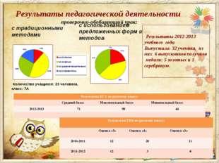 Результаты педагогической деятельности проверочно-обобщающий урок: с традицио