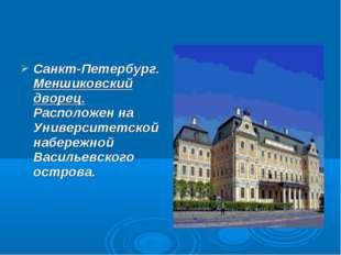 Санкт-Петербург. Меншиковский дворец. Расположен на Университетской набережно