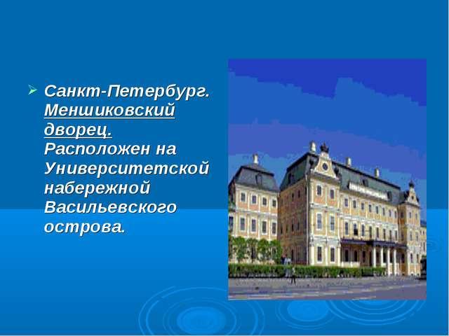 Санкт-Петербург. Меншиковский дворец. Расположен на Университетской набережно...