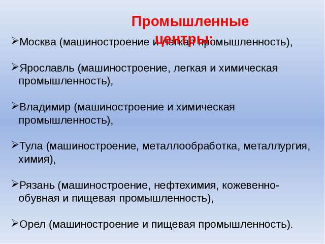 Москва (машиностроение и легкая промышленность), Ярославль (машиностроение, л...