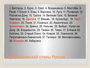 Города воинской славы России 1. Белгород. 2. Курск. 3. Орел. 4. Владикавказ.