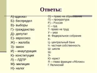 Ответы: А)-адвокат Б)- беспредел В)- выборы Г)- гражданство Д)- депутат Е)- е