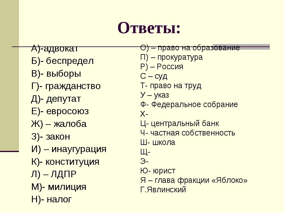 Ответы: А)-адвокат Б)- беспредел В)- выборы Г)- гражданство Д)- депутат Е)- е...