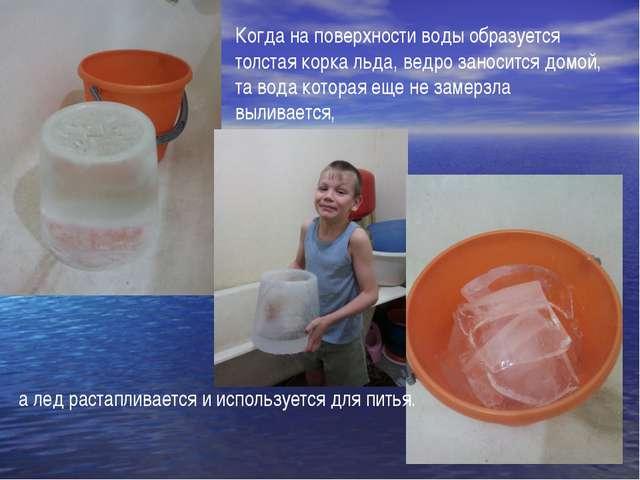 Когда на поверхности воды образуется толстая корка льда, ведро заносится домо...