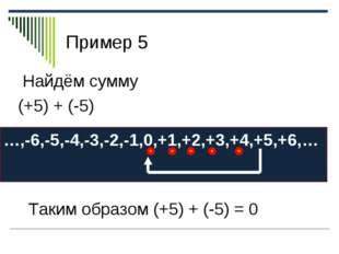 Пример 5 Найдём сумму (+5) + (-5) …,-6,-5,-4,-3,-2,-1,0,+1,+2,+3,+4,+5,+6,… Т