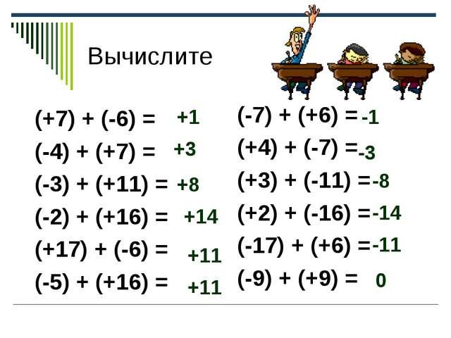 Вычислите (+7) + (-6) = (-4) + (+7) = (-3) + (+11) = (-2) + (+16) = (+17) + (...