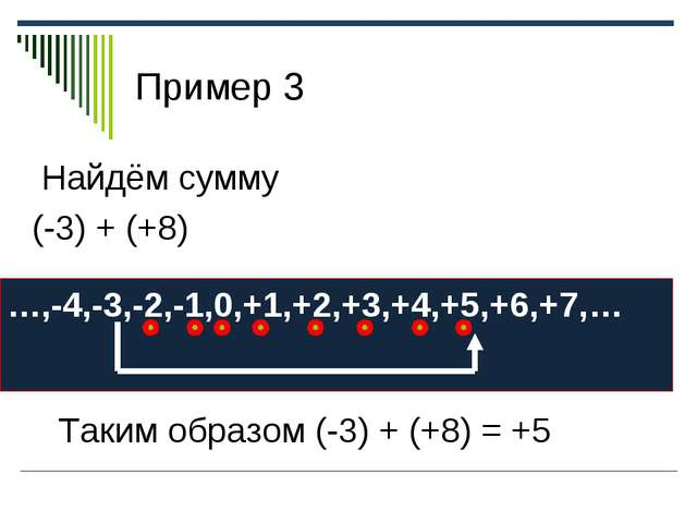 Пример 3 Найдём сумму (-3) + (+8) …,-4,-3,-2,-1,0,+1,+2,+3,+4,+5,+6,+7,… Таки...