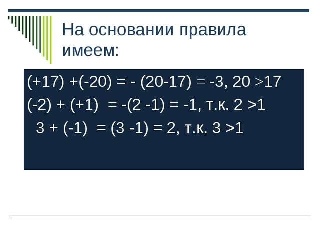 На основании правила имеем: (+17) +(-20) = - (20-17) = -3, 20 >17 (-2) + (+1)...