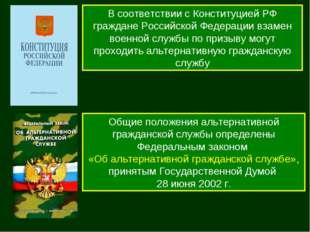 В соответствии с Конституцией РФ граждане Российской Федерации взамен военной