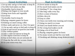 Good Activities Bad Activities 1.Get up early and go to bed early to keep fit