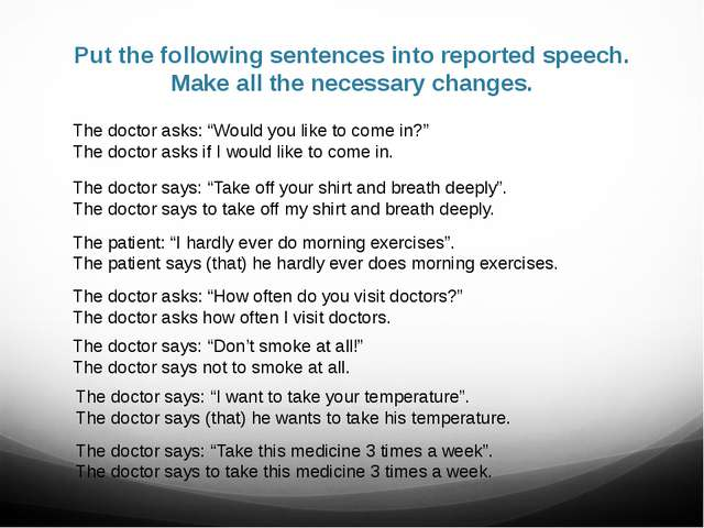 Put the following sentences into reported speech. Make all the necessary chan...