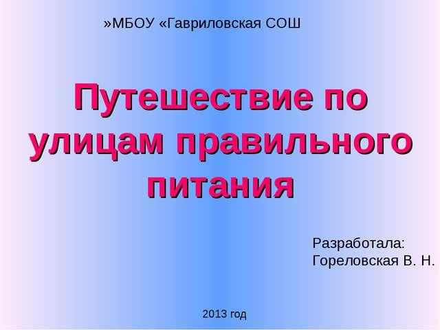 Путешествие по улицам правильного питания МБОУ «Гавриловская СОШ» Разработала...