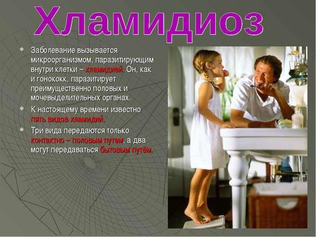 Заболевание вызывается микроорганизмом, паразитирующим внутри клетки – хлами...