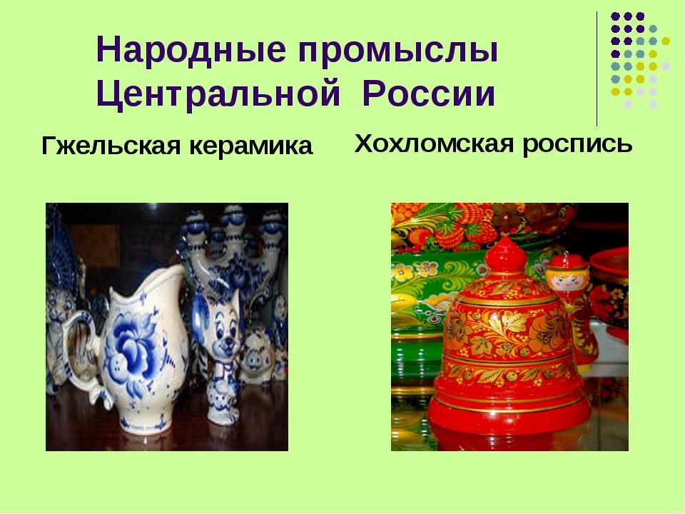 Народные промыслы Центральной России Гжельская керамика Хохломская роспись