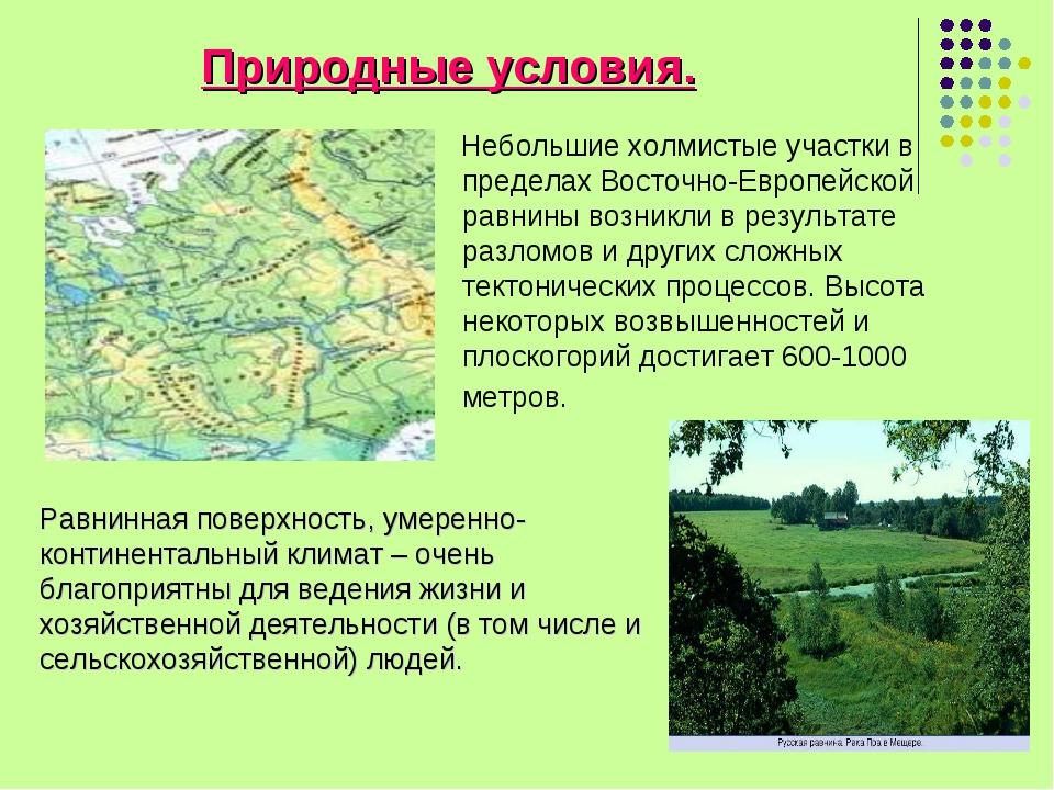 Природные условия. Небольшие холмистые участки в пределах Восточно-Европейско...