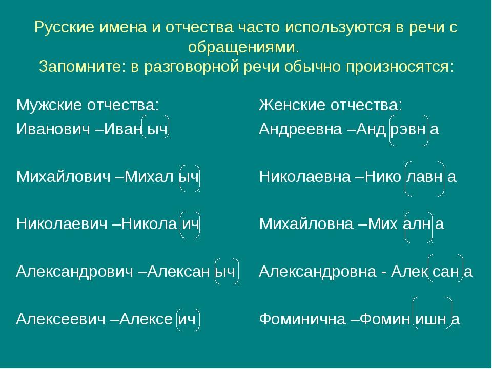 Русские имена и отчества часто используются в речи с обращениями. Запомните:...
