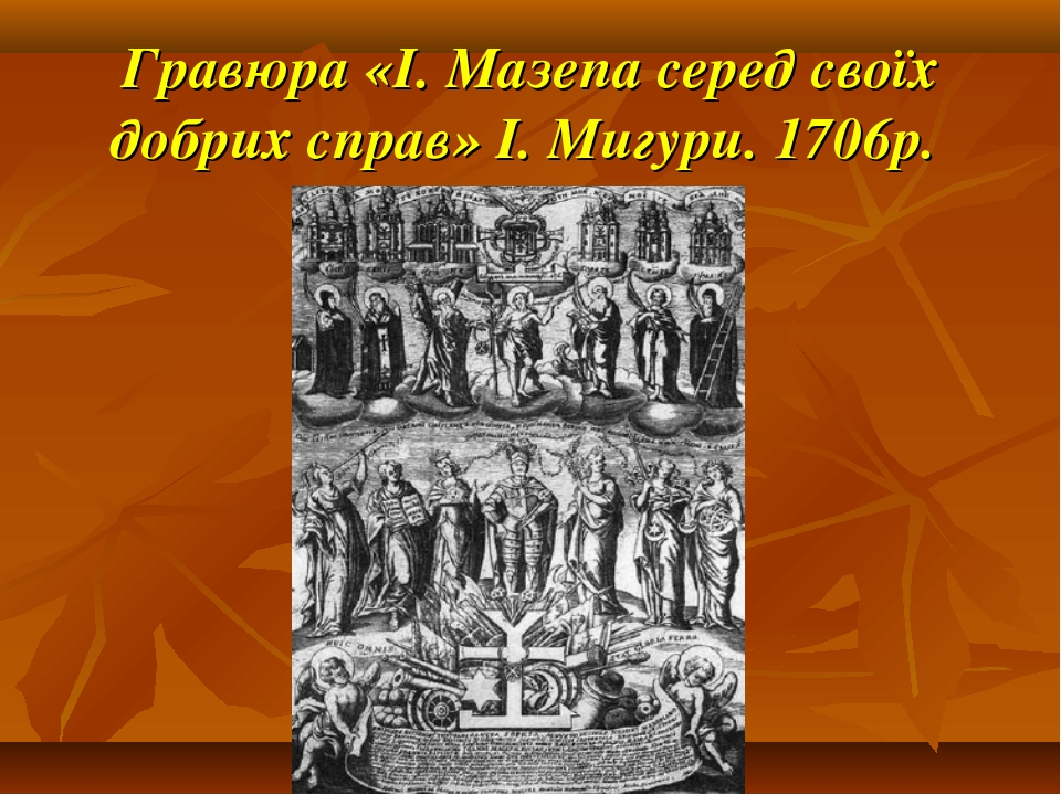 Гравюра «І. Мазепа серед своїх добрих справ» І. Мигури. 1706р.