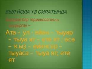 Билдәле бер терминологияны тыуҙырған – Ата – ул - ейән – тыуар – тыуа ят – ет