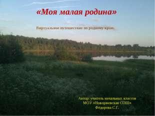 «Моя малая родина»  Автор: учитель начальных классов МОУ «Новоржевская СОШ»