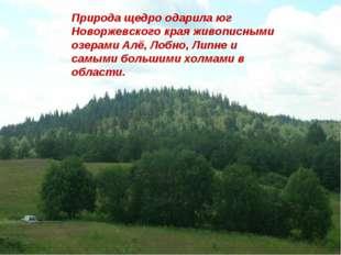 Природа щедро одарила юг Новоржевского края живописными озерами Алё, Лобно, Л