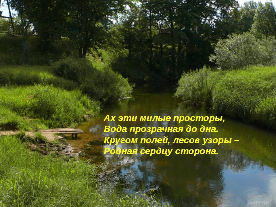 Ах эти милые просторы, Вода прозрачная до дна. Кругом полей, лесов узоры – Ро...