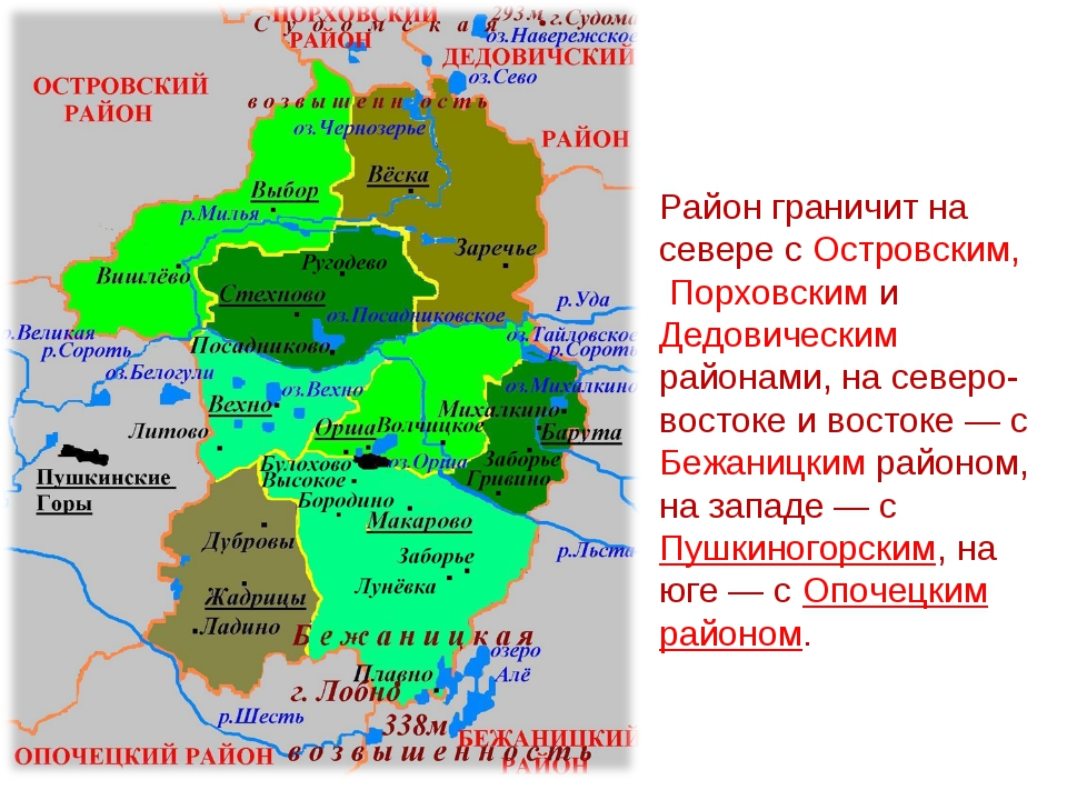 Район граничит на севере с Островским, Порховским и Дедовическим районами, на...