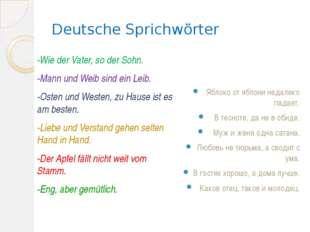 Deutsche Sprichwörter -Wie der Vater, so der Sohn. -Mann und Weib sind ein Le