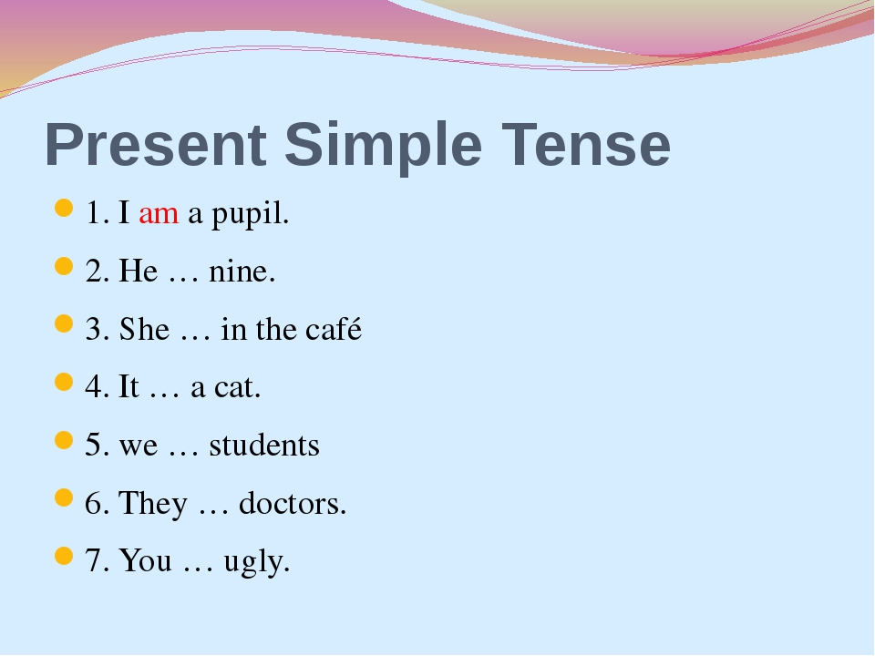 Present Simple Tense 1. I am a pupil. 2. He … nine. 3. She … in the café 4. I...