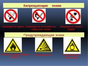 Запрещающие знаки Запрещается курить Запрещается пользоваться открытым огнем